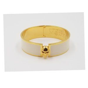 Alexander McQueen Cream & Gold-tone Skull Bracelet